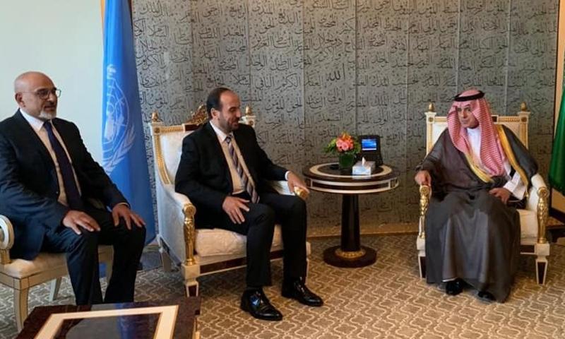 لقاء الحريري مع وزير الدولة للشؤون الخارجية السعودية عادل الجبير في نيويورك - (هيئة التفاوض)