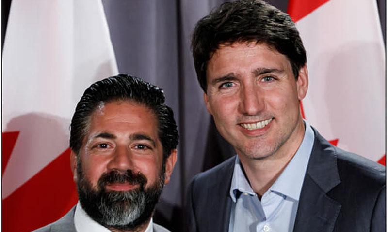 رئيس الوزراء الكندي جاستن ترودو مع رجل الأعمال السوري وسيم الرملي - حزيران 2019 (Waseem Ramli فيس بوك)