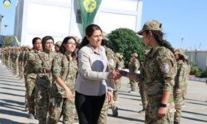 افتتاح أول أكاديمية عسكرية للمرأة شمال وشرق سوريا - 23 من أيلول 2019 (صفحة الإدارة الذاتية عبر فيس بوك)