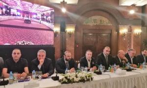 تجار وأصحاب رؤوس أموال سوريين في اجتماع مع حاكم مصرف سوريا المركزي حازم قرفول (وائل الدغلي)