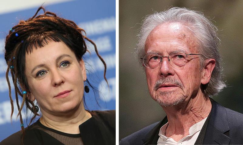 بيتر هاندكه وأولجا توكارتشوك الحاصلان على جائزة نوبل للآداب - 10 تشرين الأول 2019 (تعديل عنب بلدي)