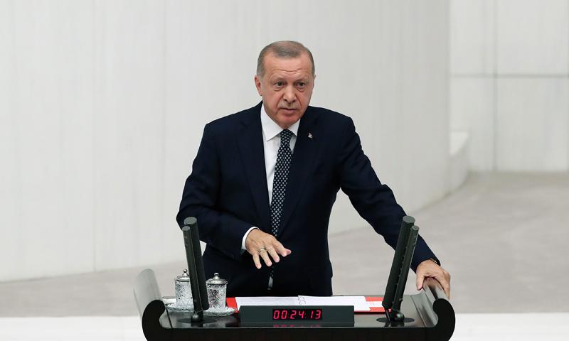 الرئيس التركي رجب طيب أردوغان في كلمة له أمام البرلمان التركي في أنقرة- 1 من تشرين الأول 2019 (حساب الرئيس التركي تويتر)
