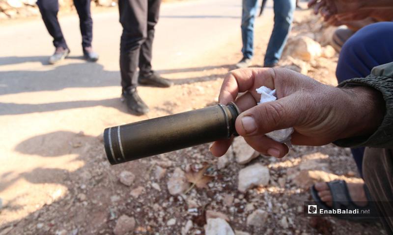 غلاف طلقة من بقايا الاشتباك في منطقة باريشا في محافظة إدلب- 27 من تشرين الأول 2019 (عنب بلدي)