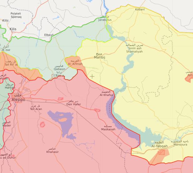 خريطة تظهر موقع منبج في ريف حلب الشرقي - 14 تشرين الأول 2019 (Livemap)