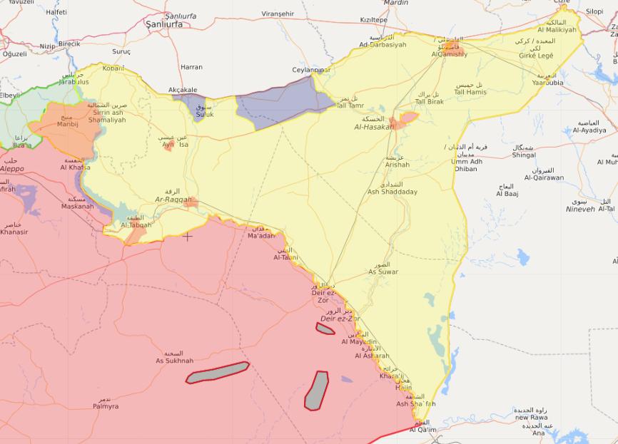 خريطة تظهر توزع السيطرة في الشمال السوري - 15 تشرين الأول 2019 (Livemap)