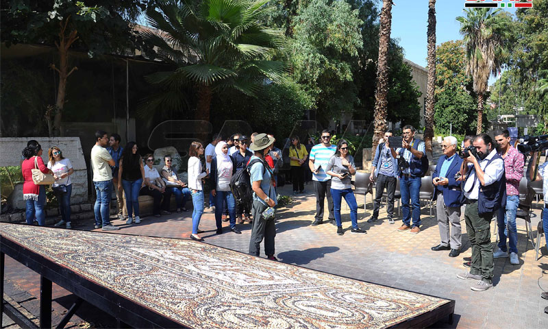 الكشف عن اللوحة الفسيفسائية المستعادة من كندا في المتحف الوطني في دمشق - 7 تشرين الأول 2019 (سانا)