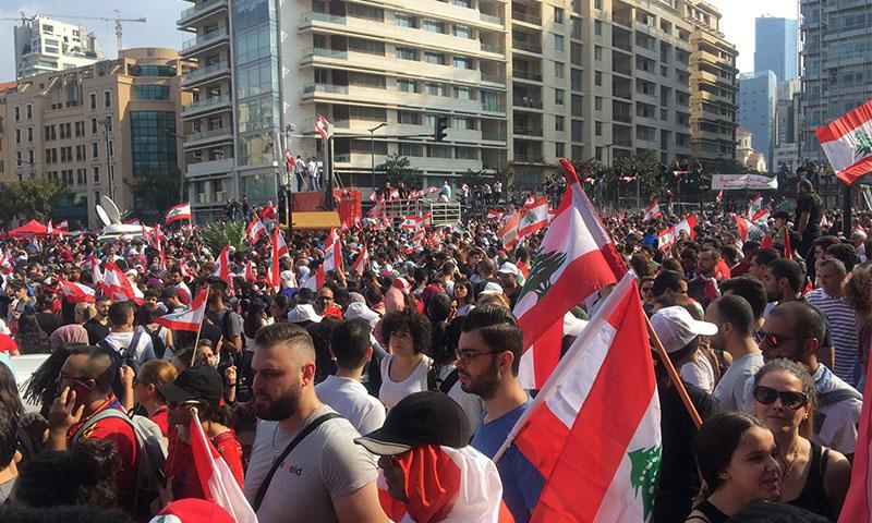 المتظاهرون في لبنان ساحة الشهداء في بيروت- 20 تشرين الأول 2019 (عنب بلدي)