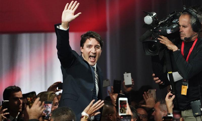 رئيس الوزراء الكندي جاستن ترودو - 21 تشرين الأول 2019 (AP)