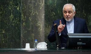 وزير الخارجية الإيراني محمد جواد ظريف أمام مجلس الشورى الإيراني (وكالة فارس)