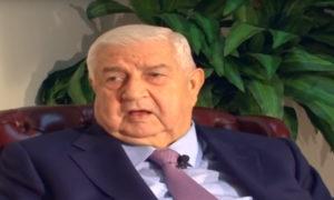 """وزير الخارجية السوري وليد المعلم في مقابلة مع قناة """"الميادين""""- 2 من تشرين الأول 2019 (الميادين يوتيوب)"""