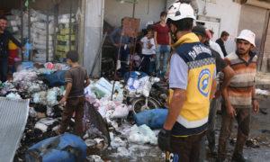 آثار اتفجار دراجة نارية مفخخة في مدينة قباسين بريف حلب الشرقي - 5 من تشرين الأول 2019 (الدفاع المدني السوري)