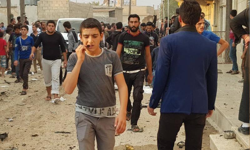 آثار انفجار عبوة ناسفة في مدينة صرين في ريف حلب الشمالي - 26 من تشرين الأول 2019 (عنب بلدي)