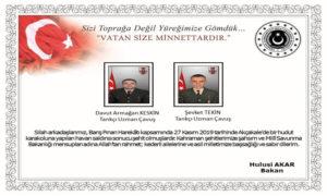 صورة الجنديين الأتراك الذين قتلوا في القصف،28 من تشرين الثاني (وزارة الدفاع التركية).