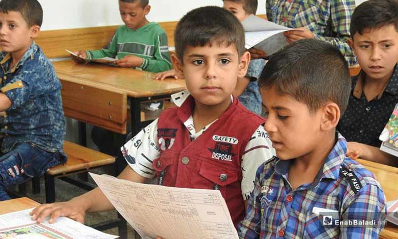 طلاب سوريون في مدارس ريف حلب الشمالي -13 حزيران- (خاص عنب بلدي)