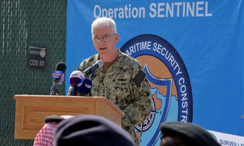 قائد القيادة المركزية للقوات البحرية الأميركية في الشرق الأوسط جيم مالوي حفل إعلان انطلاق عمل التحالف في مقر الاسطول الخامس بالمنامة -7 تشرين الثاني2019- (فرانس برس)