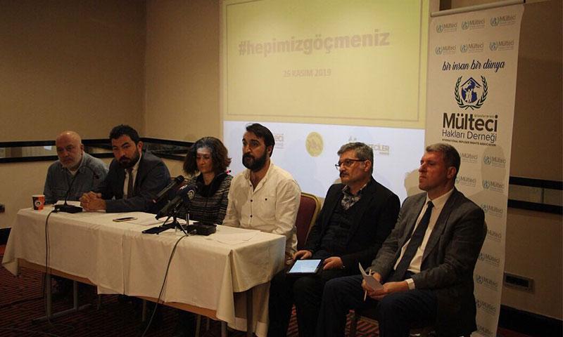 """مؤتمر صحفي لجمعية """"حقوق اللاجئين"""" ومنصة """"جميعنا لاجئون"""" (Hepimiz Göçmeniz)، (حساب جمعية حقوق اللاجئين على تويتر)"""