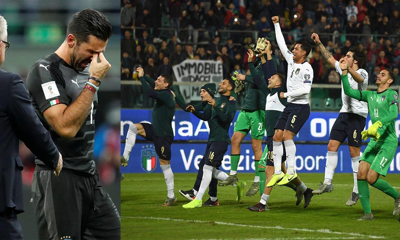 """على اليمين صورة احتفال المنتخب الإيطالي بعد التأهل إلى نهائي """"يورو 2020"""" وعلى اليسار صورة بوفون باكيًا بعد الفشل بالتأهل إلى كأس العالم 2018 (تعجيل عنب بلدي)"""