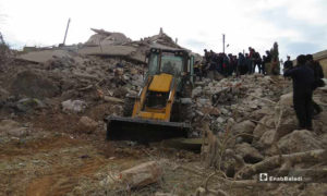 آثار القصف الروسي على قرية مرعيان في جبل الزاوية، جنوبي إدلب -22 تشرين الثاني 2019- (خاص عنب بلدي