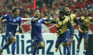 سالم الدوسري يحتفل بتسجيل هدفه في نهائي دوري أبطال آسيا أمام أوروا الياباني (AFC)