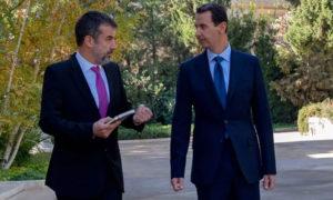 رئيس النظام بشار الأسد أثناء المقابلة (موقع باريس ماتش)