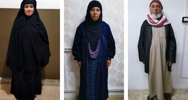 شقيقة البغدادي وزوجها (يمين) وزوجة ابنها (يسار) بعد اعتقالهم من قبل تركيا (يني شفق)
