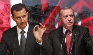 الرئيس التركي رجب طيب أردوغان ورئيس النظام السوري بشار الأسد (تعديل عنب بلدي)