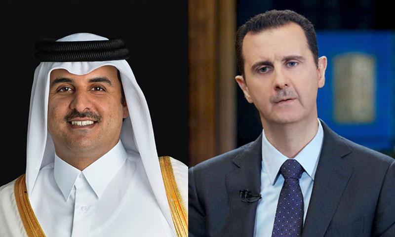 بشار الأسد وتميم بن حمد أمير دولة قطر (تعديل عنب بلدي)