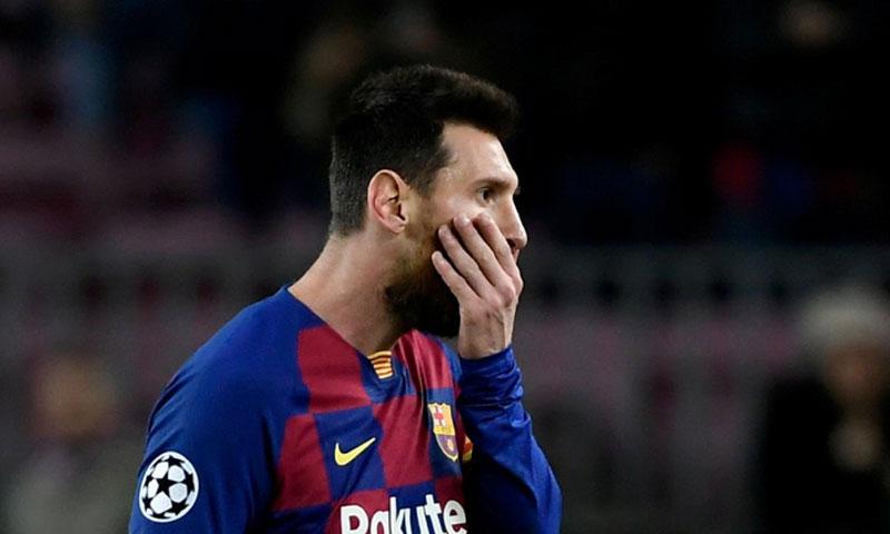 ليونيل ميسي بعد نهاية لقاء برشلونة ضد سلافيا براغ 5 تشرين الأول 2019 (AFP)