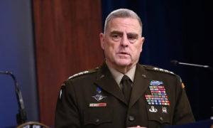 رئيس هيئة الأركان الأمريكية المشتركة الجنرال مارك ميلي يتحدث للصحفيين في البنتاجون -11 تشرين الأول- (رويترز)