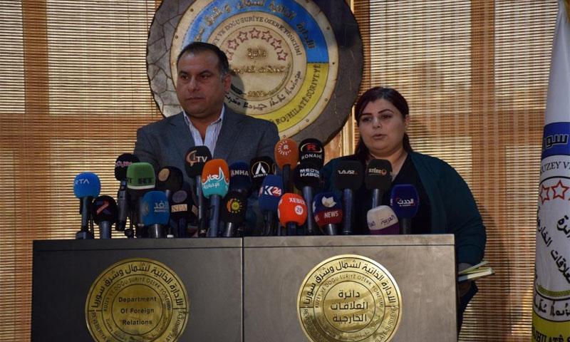 إلقاء بيان الإدارة الذاتية من قبل بيريفان خالد، وعبد حامد المهباش -17 تشرين الثاني 2019- (هاوار)