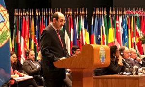 بسام صباغ خلال إلقاء كلمته أمام المؤتمر الدولي لحظر الأسلحة الكيميائية -26 تشرين الثاني 2019- (سانا)