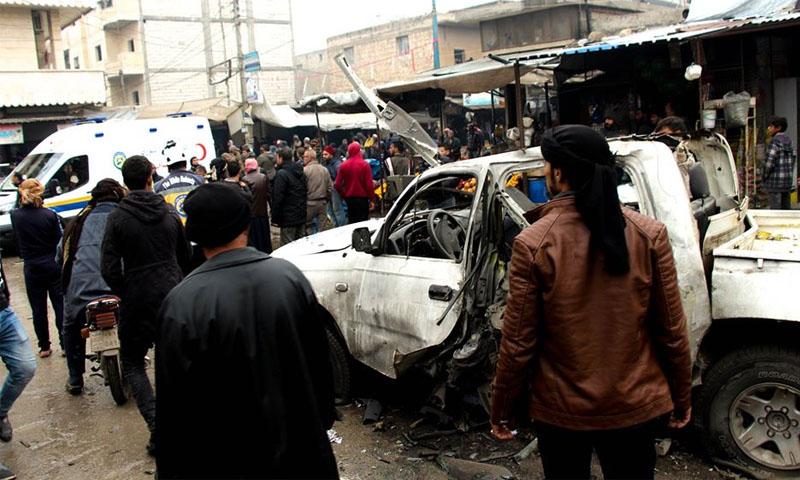 آثار انفجار عبوة ناسفة بسيارة في جرابلس -30 تشرين الثاني 2019- (الدفاع المدني)