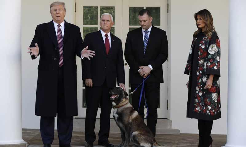 الكلب كونان مع الرئيس الأمريكي دونالد ترامب ونائب الرئيس مايك بينس وزوجة الرئيس ميلينا - 25 تشرين الثاني 2019 (AP)
