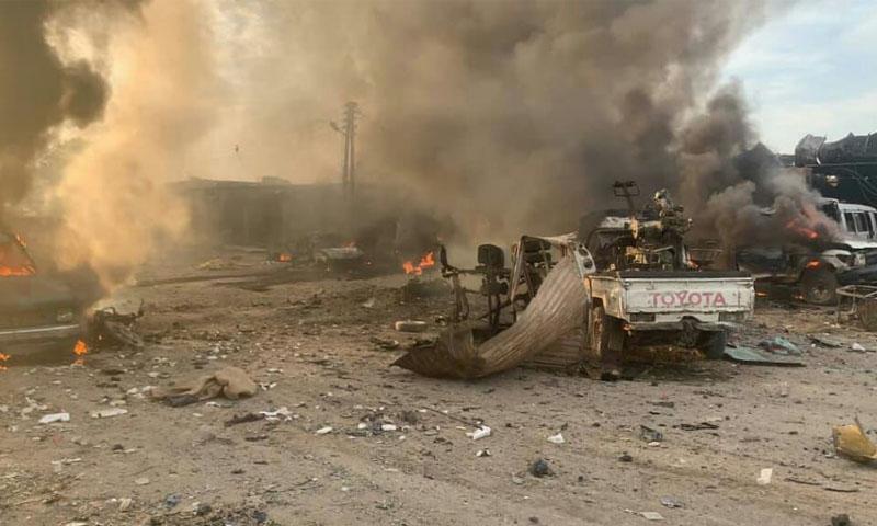 انفجار سيارة مفخخة في سوق تل حلف -26 تشرين الأول 2019- (تلجرام)