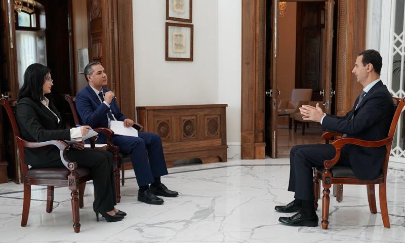 رئيس النظام السوري في لقاء مع التلفزيون الحكومي السوري (سانا)