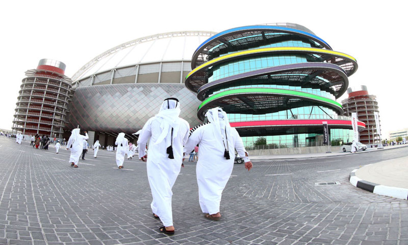 استاد خليفة الدولي في الدوحة، تم تجديده تحسبًا لكأس العالم، والتي ستقام في عام 2022 (AFP)