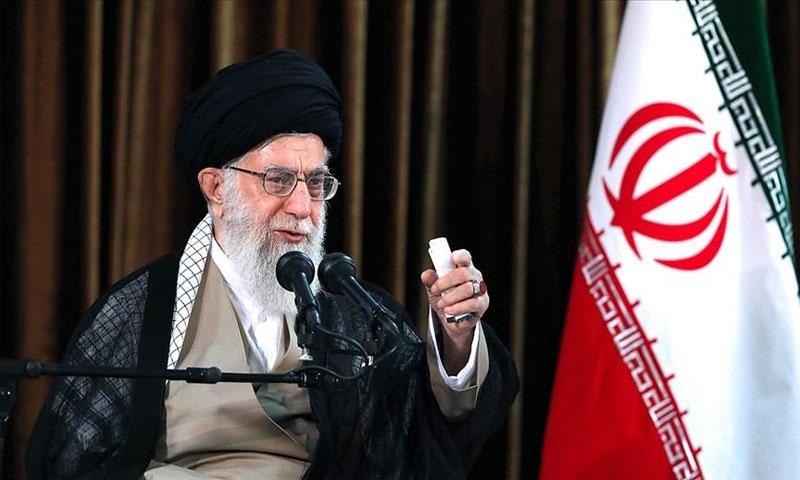 علي خامنئي أثناء كلمته اليوم 17 تشرين الثاني 2019، (Getty images)