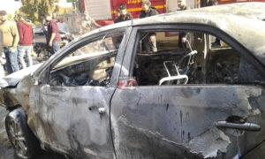 سيارة محترقة في محطة محروقات في مدينة السويداء جنوبي سوريا- 24 من تشرين الثاني 2019 (السويداء 24)