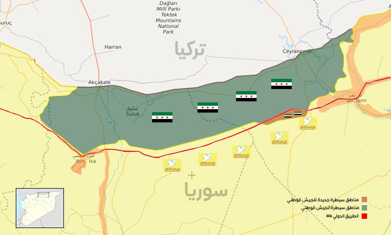 خريطة ميدانية توضح السيطرة العسكرية في ريفي الحكسة والرقة شمال شرقي سوريا- 18 تشرين الثاني 2019 (تعديل عنب بلدي)