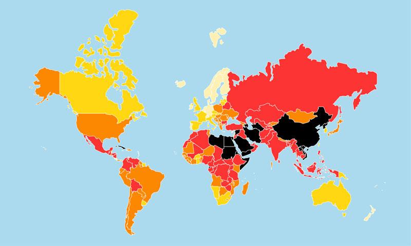 تصنيف الدول في حرية الصحافة للعام 2019 (موقع مراسلون بلا حدود)