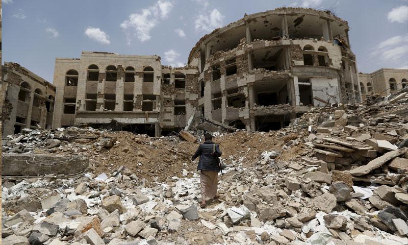 مباني مدمرة إثر الحرب في اليمن 2016 (منظمة بروكينغ)