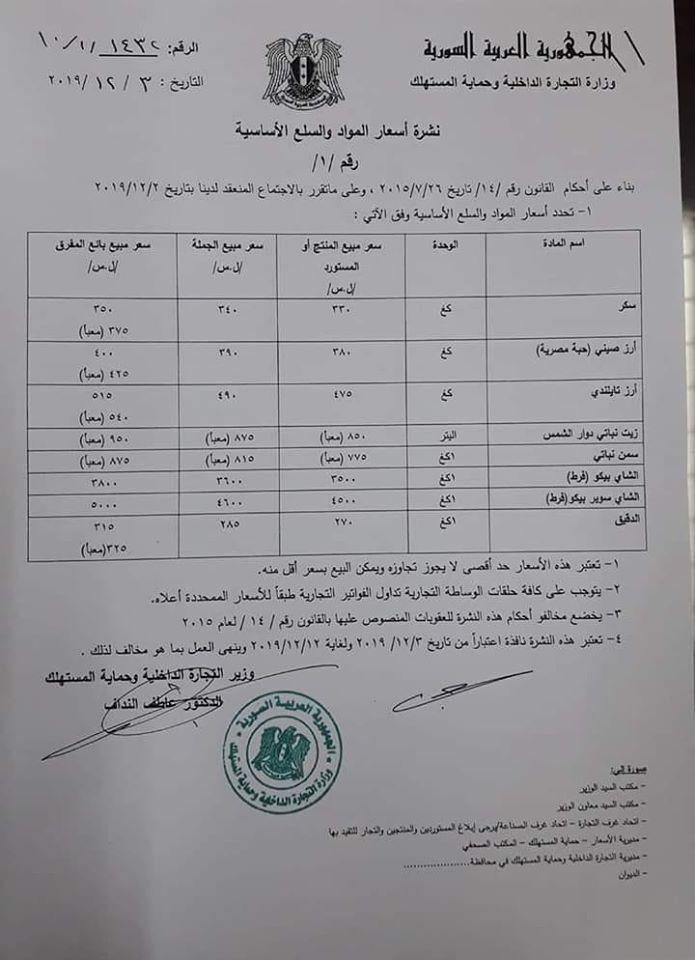 """نشرة أسعار السلع الأساسية من """"وزارة التجارة الداخلية""""- 3 كانون الأول 2019 (سانا)"""