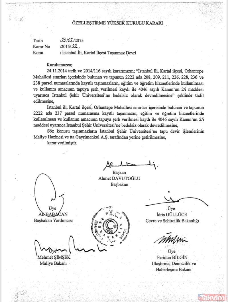نص قرار تخصيص أرض &amp؛amp؛amp؛quot؛TEKEL&amp؛amp؛amp؛quot؛ في منطقة كارتال لجامعة إسطنبول شهير دون دفع أي بدل، ويحمل القرار توقيع رئيس الوزراء التركي الأسبق، أحمد داوود أوغلو، (Takvim)