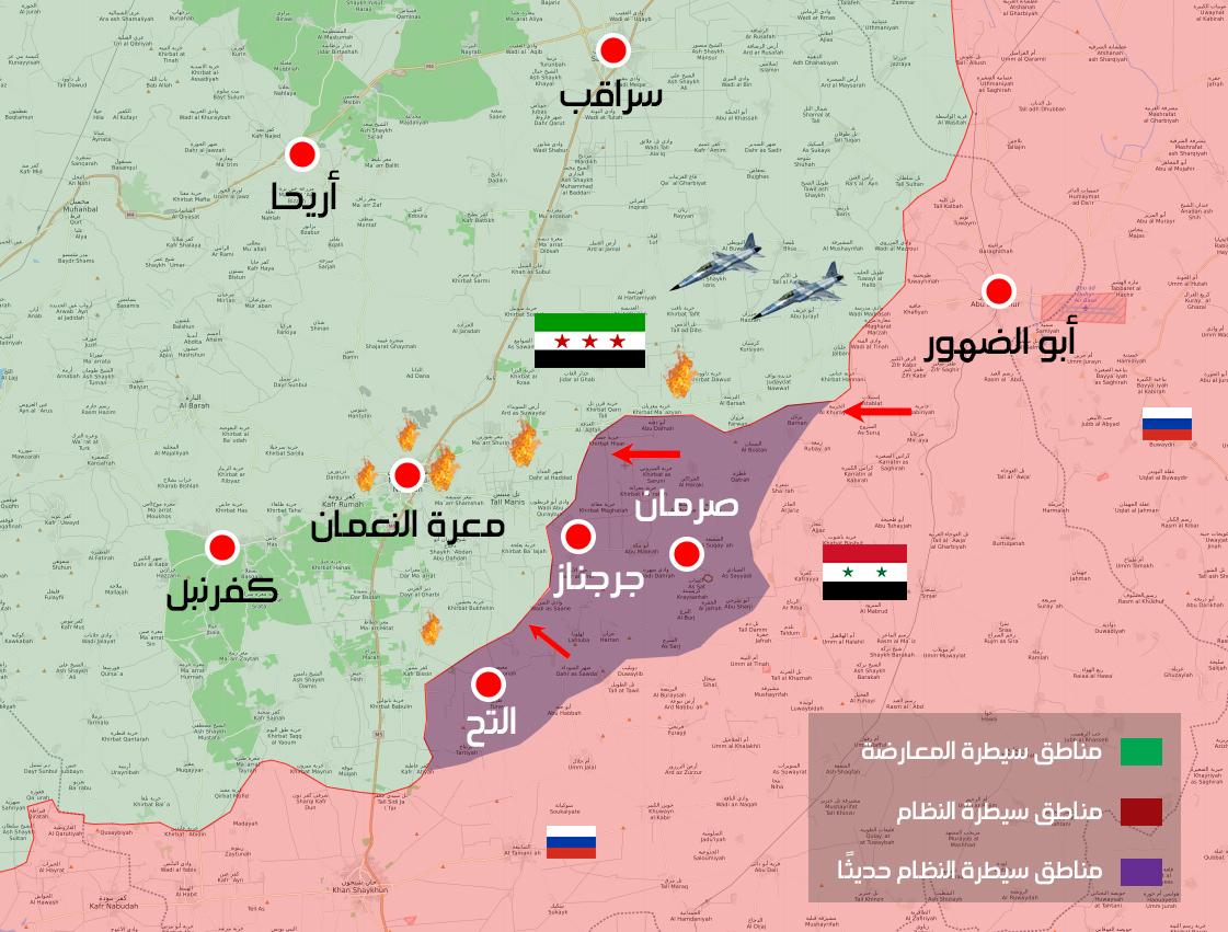 خريطة لتقدم قوات النظام السوري على محوري إدلب الشرقي والجنوبي (عنب بلدي)