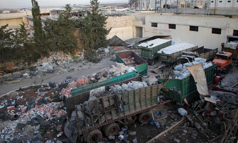 القافلة التي تعرضت لقصف في حلب في 19 أيلول الماضي (AFP)