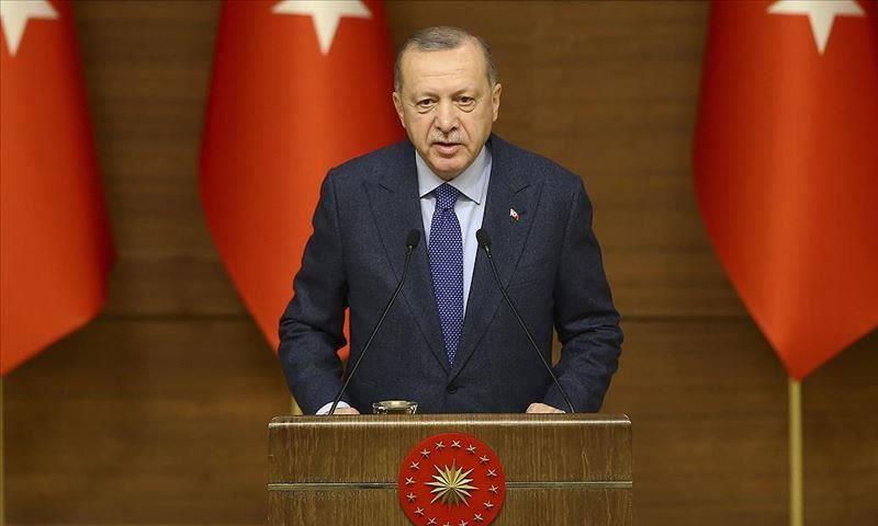 الرئيس التركي، رجب طيب أردوغان خلال كلمته اليوم-12 من كانون الأول،(الأناضول)