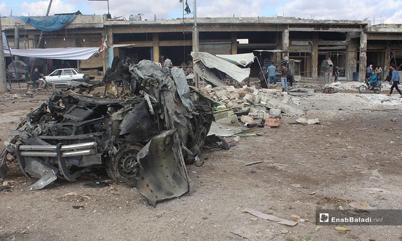 آثار قصف سوق الهال في سراقب بريف إدلب - 2 من كانون الأول 2019 (عنب بلدي)