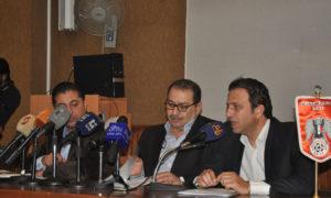 صلاح رمضان في مؤتمر صحفي للاتحاد السوري لكرة القدم (صلاح رمضان فيس بوك)