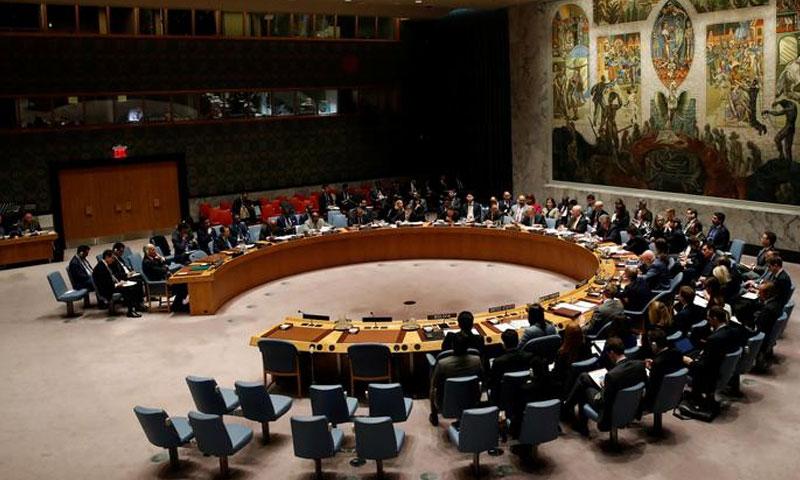 اجتماع مجلس الأمن التابع للأمم المتحدة حول سوريا في مقر الأمم المتحدة في نيويورك، الولايات المتحدة الأمريكية-12 آذار 2018 (رويترز).