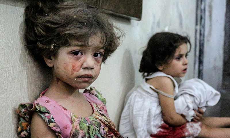 أطفال سوريون يعانون من الصدمة – 2017 (وكالة الأناضول)